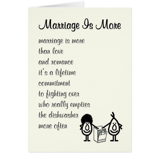 Marriage Is More  funny wedding anniversary poem Card  Zazzle