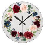 Marsala & Navy Blush Roses Shabby Chic Wreath Large Clock