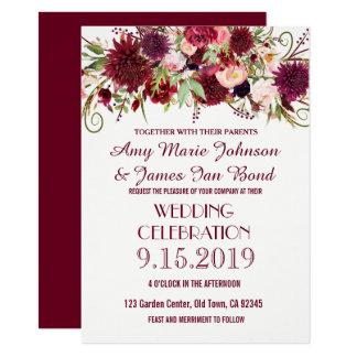Burgundy Red Purple Fl Boho Wedding Invitation