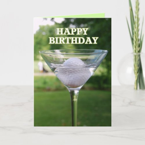 Martini Golf Ball Happy Birthday Card card