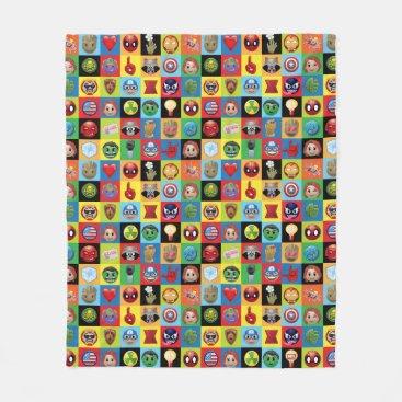Marvel Emoji Characters Grid Pattern Fleece Blanket