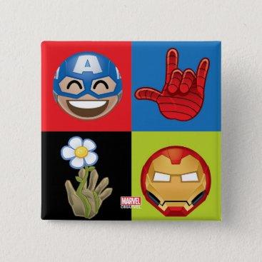 Marvel Emoji Characters Grid Pattern Pinback Button