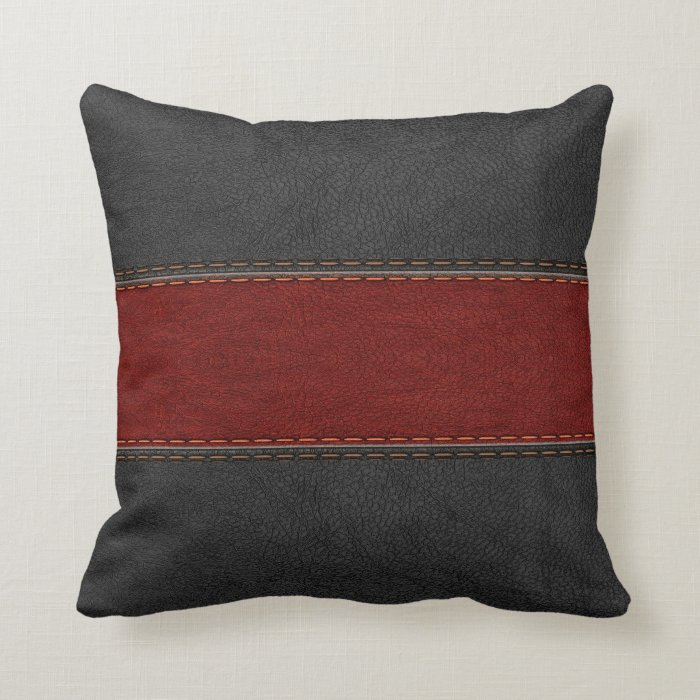 Masculine Black And Red Leather Throw Pillow  Zazzle