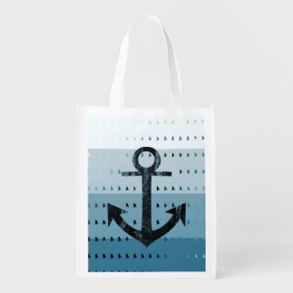 Masculine Blue Anchor Nautical Pattern Design Grocery Bags