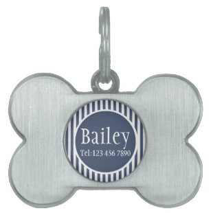 Masculine Blue Striped Personalized Pet Tag