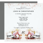 Masculine hat watercolor bouquet gay marriage invitation