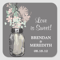 Mason Jar and Wildflowers Wedding Square Stickers