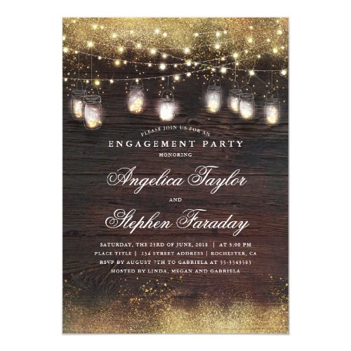 Mason Jar Lights Rustic Wood Engagement Party Invitation