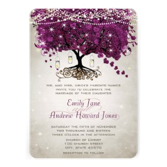 Mason Jar Sangria Radiant Orchid Heart Leaf Tree Wedding Custom Announcement