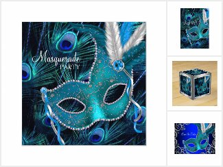 Masquerade Party Peacock Blue