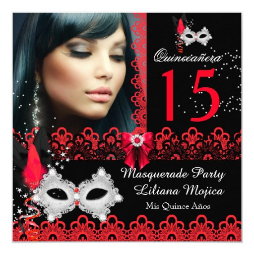 Masquerade Quinceanera Party Red Lace Card