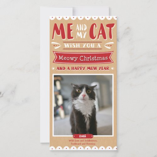 Me and My Cat Christmas 4x8 Photocard Holiday Card