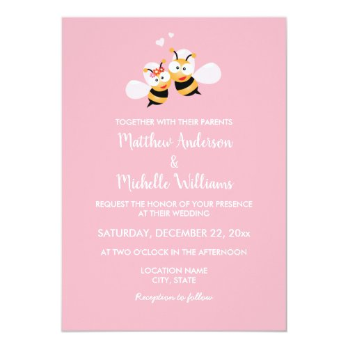 Meant To Bee Whimsical Elegant Wedding Invitation