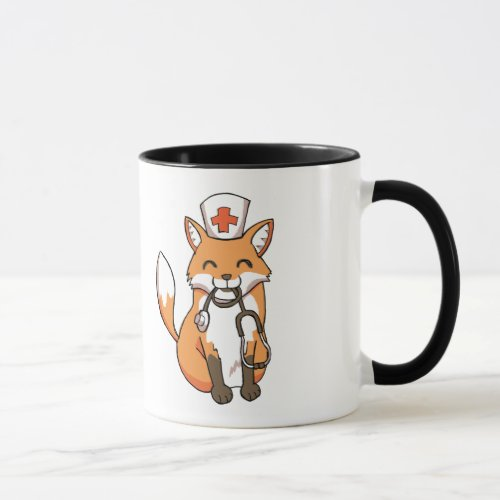 Medical Nurse Doctor Fox Drawing Cute Ringer Mug