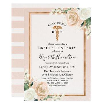 Medical Nursing School Graduation Party Rose Gold Invitation