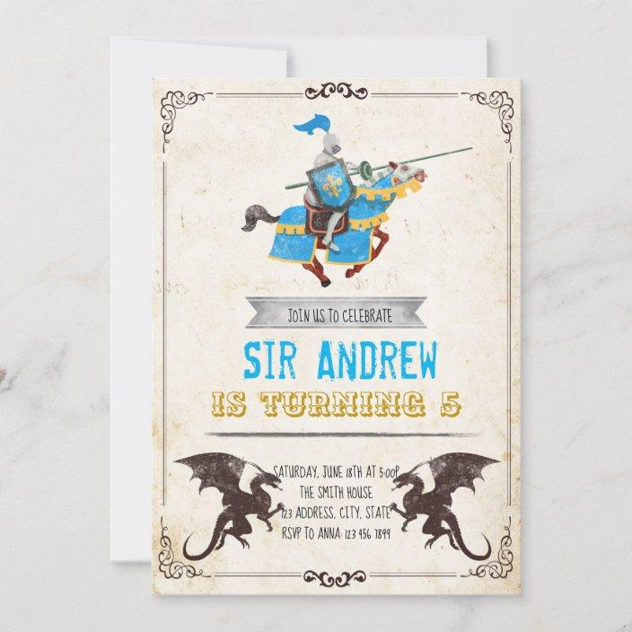 medieval knight and dragon birthday party invitation zazzle com