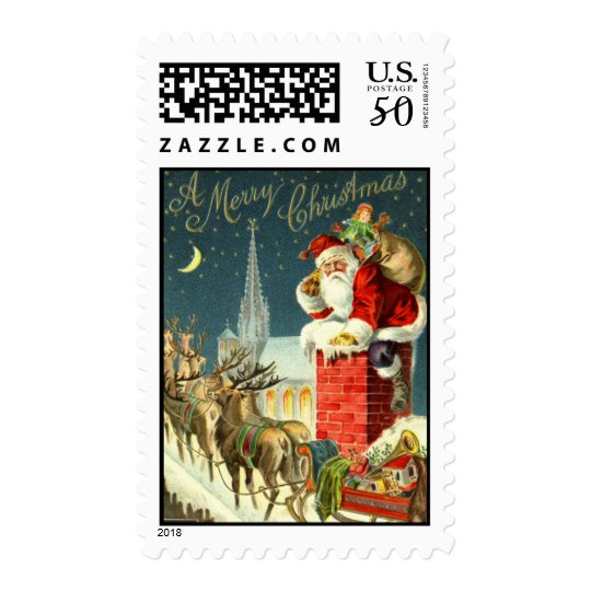 MEDIUM Antique Christmas Santa Postage Stamp