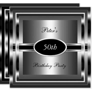 Mens  50th Birthday Party Black  Silver Invitation
