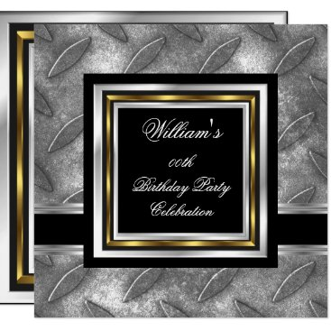 Men's Elegant Black Gold Silver Birthday Metal Card
