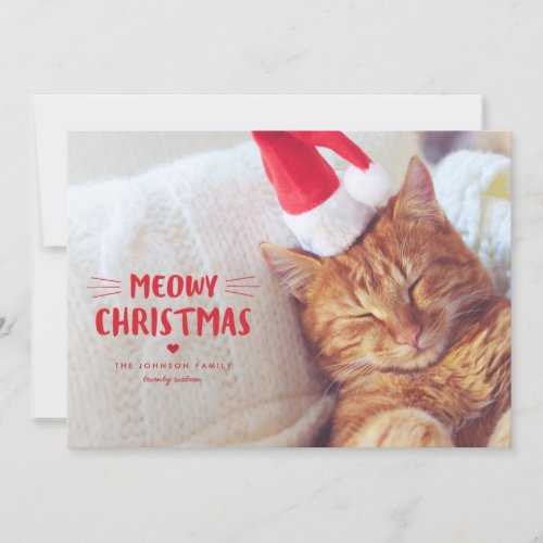 Meowy Christmas | Cute Cat Holiday Photo Card