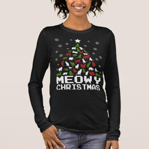 Meowy Christmas Tree Long Sleeve T-Shirt