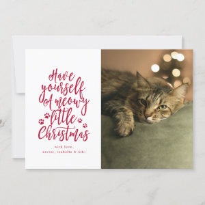 Meowy Little Christmas White Holiday Photo Card