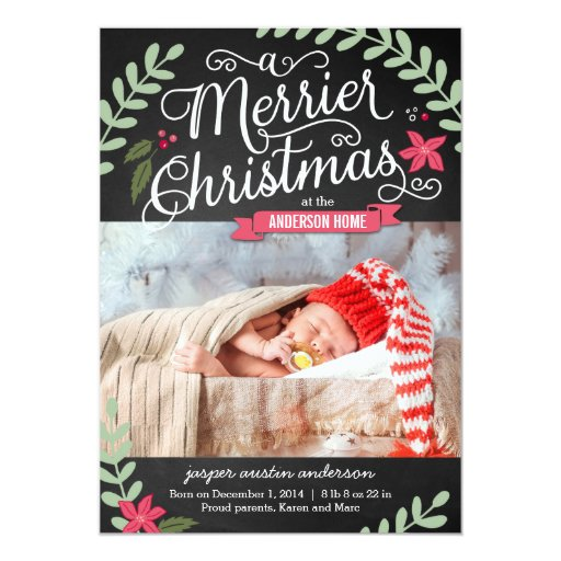 Merrier Christmas Birth Announcement Holiday Card Zazzle