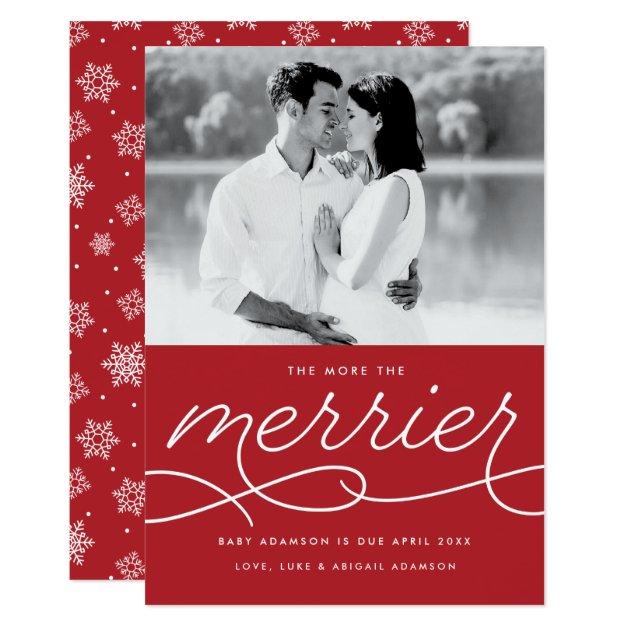 Merrier Pregnancy Announcement Christmas Card Zazzle