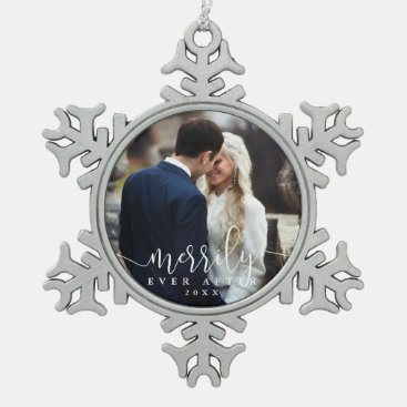 Merrily Ever After | Wedding Photo Snowflake Pewter Christmas Ornament