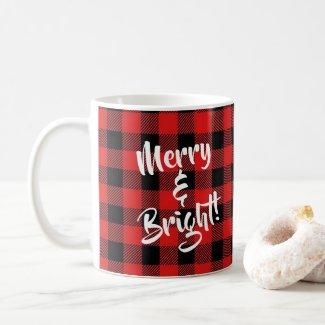 """""""Merry and Bright"""" Red & Black Buffalo Plaid Mug"""