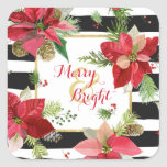 Merry & Bright Poinsettias, Black Stripe Stickers