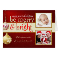 Merry & Bright Two-Photo Holiday Greeting Card