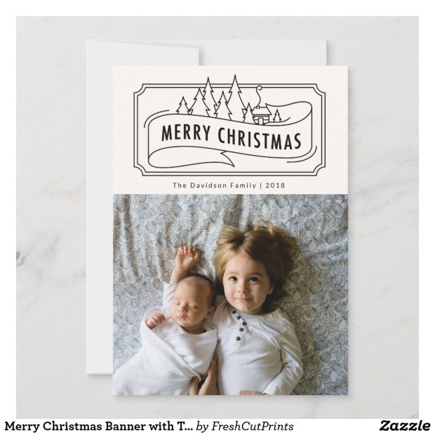 Merry Christmas Banner with Trees Holiday Card