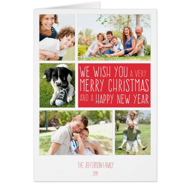 Merry Christmas Card Photo Collage Template