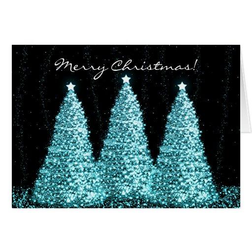 Merry Christmas Elegant Turquoise Sparkle Trees Card Zazzle