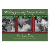 Merry Christmas Holly and Ivy Tri-Photo Card