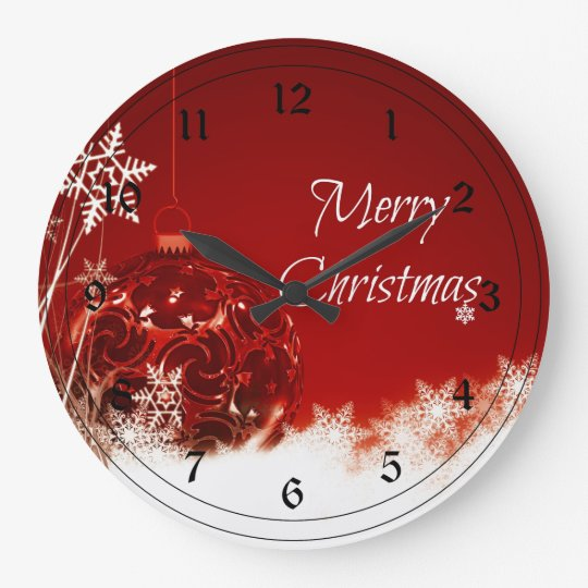 Merry Christmas In Red And White Large Clock
