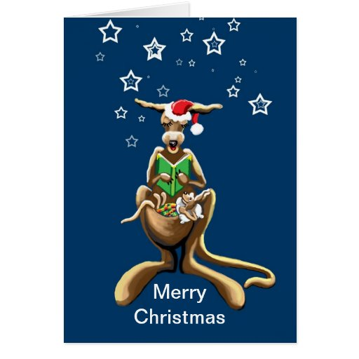 Merry Christmas Kangaroo And Joey Cards Zazzle