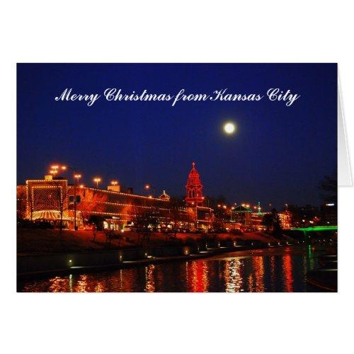 Merry Christmas Kansas City Full Moon Plaza Greeting Card