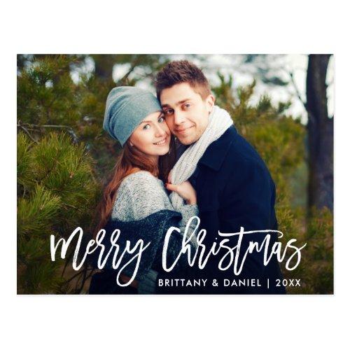 Merry Christmas Modern Brush Script Photo Postcard