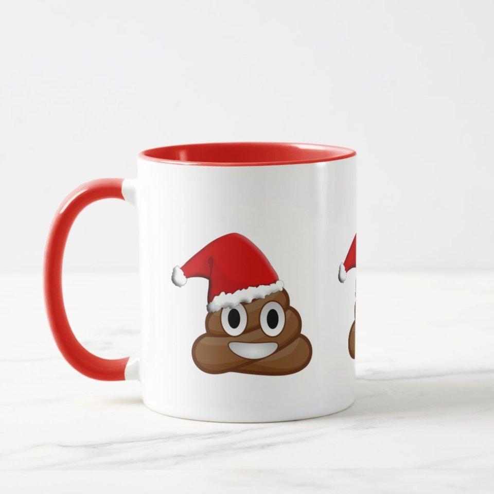 Christmas Mugs Gift Ideas 18- Merry Christmas poop emoji Mug