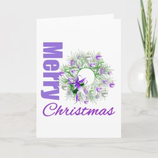 Merry Christmas Purple Theme Garden Wreath card