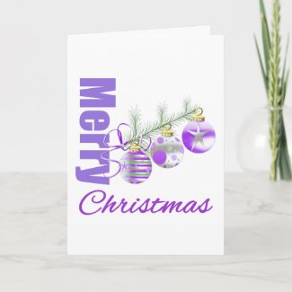 Merry Christmas Purple Theme Trio Ornaments card