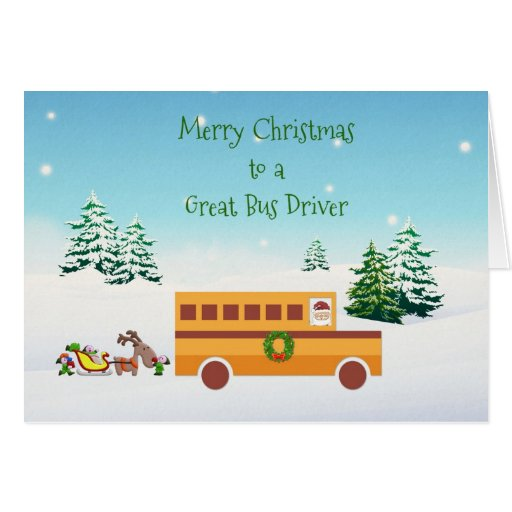 Merry Christmas School Bus Driver Cards Zazzle