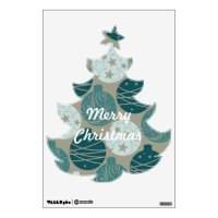 Merry Christmas Tree Holiday Removable Wall Decal | Zazzle
