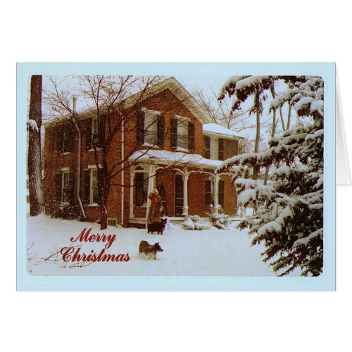 Merry Christmas Victorian House in Snow Greeting Card