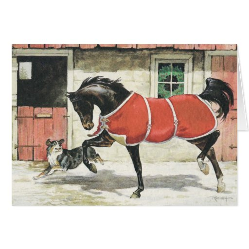 Merry Christmas Vintage Horse And Dog Card Zazzle