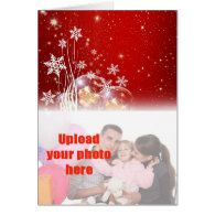 Merry Christmas with baubles add photo Greeting Cards