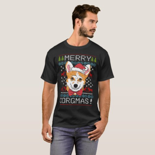 Merry Corgmas Corgi Christmas Ugly Sweater T-Shirt