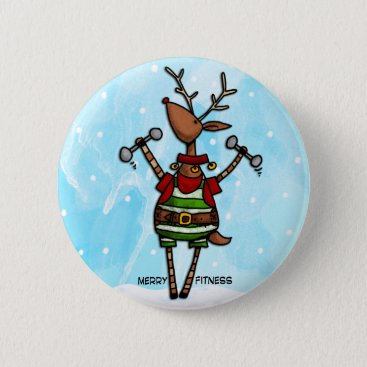 merry fitness reindeer button